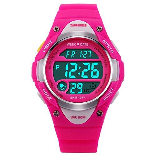 niubility 1077 Sport Digital Wasserdicht Armbanduhr fuer Kinder Jungen Maedchen pink