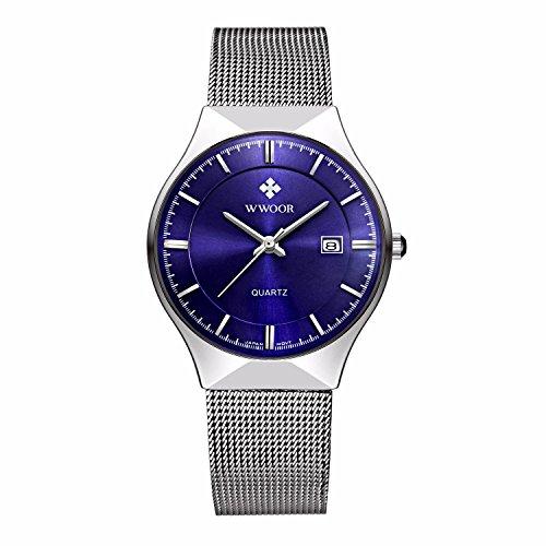 niubility 8016 Herren Ultra Duenn Blau Zifferblatt Armbanduhr