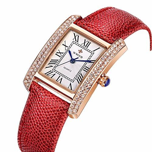 niubility 8806 Damen Kleid Rot Armband Armbanduhr
