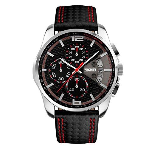 niubility 9106 Quarz Analog Herren s Echtes Leder Gurt Uhren schwarz