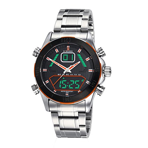 niubility ori 1259 Edelstahl Band Analog Digital Datum Armbanduhr Orange