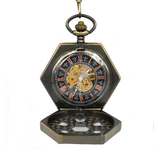 niubility ori 1590 Edelstahl Halskette Kette Bronze Zifferblatt Sechseck Mechanische Taschenuhr