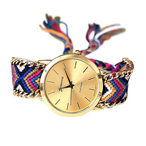 SoulSisters Handmade Armbanduhr Hippie Boho Style bunt geflochten