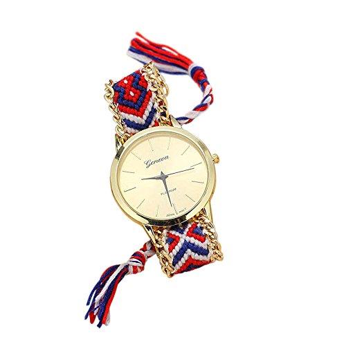 SoulSisters Handmade Armbanduhr Hippie Boho Style rot blau geflochten