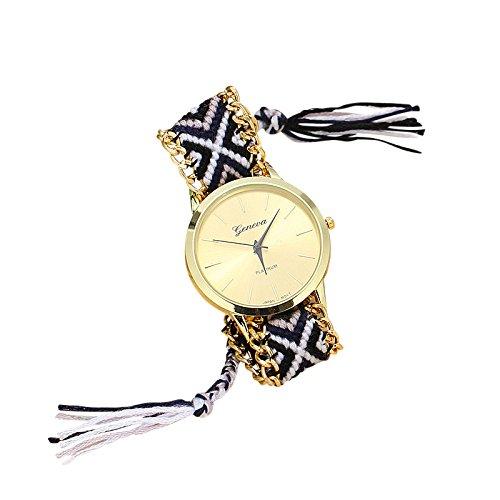 SoulSisters Handmade Armbanduhr Hippie Boho Style schwarz weiss geflochten