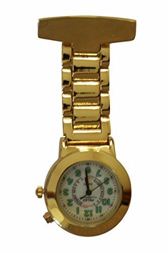 Pelex Pulsemeter Gold Gesicht mit Leuchtziffern FOB Uhr Edelstahl Ruecklicht Krankenschwestern AErzte Sanitaeter Tunika Brosche Extra Batterie