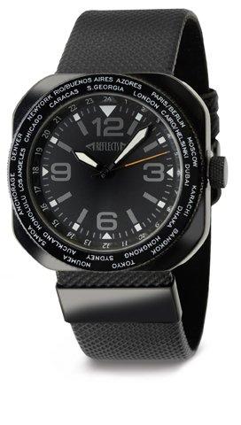 REFLECTS Armbanduhr mit einer drehbaren Luenette Weltzeit aus Metall WORLDTIME Schwarz