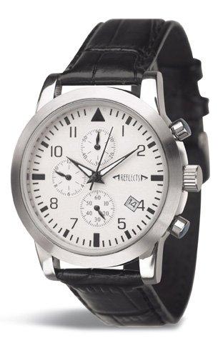 REFLECTS Armbanduhr aus Edelstahl mit Lederarmband in Kroko Optik CHRONO glaenzend
