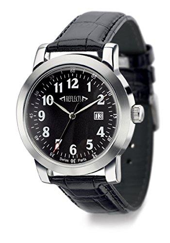 REFLECTS Armbanduhr mit Edelstahlgehaeuse glaenzend Lederarmband in Kroko Optik CLASSIC Schwarz