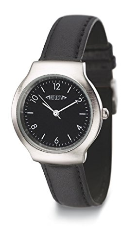 REFLECTS Damen Armbanduhr in gebuerstetem Chrom Metallgehaeuse mit schwarzem Lederarmband TREND Schwarz Silber