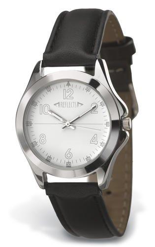 REFLECTS Armbanduhr aus Metall in glaenzendem Chrom TREND schwarzes Lederimitatarmband