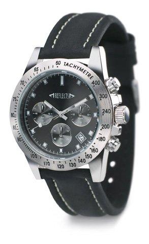 REFLECTS Armbanduhr mit Messinggehaeuse in glaenzendem Chrom CHRONO Schwarz Silber