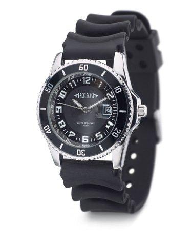 REFLECTS Armbanduhr mit Messinggehaeuse in glaenzendem Chrom SPORT Schwarz