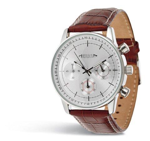 REFLECTS Armbanduhr aus Metall in glaenzendem Chrom Lederarmband CHRONO