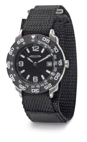 REFLECTS Armbanduhr mit Metallgehaeuse in gebuerstetem Chrom SPORT Schwarz