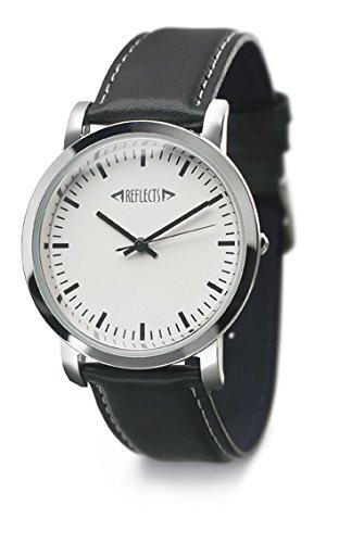 REFLECTS Armbanduhr mit Metallgehaeuse in glaenzendem Chrom und gepolstertes Lederarmband TREND Schwarz