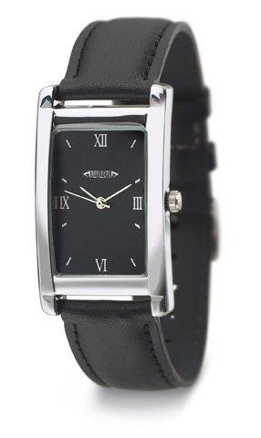 REFLECTS Armbanduhr mit Metallgehaeuse in glaenzendem Chrom CLASSIC Schwarz Silber