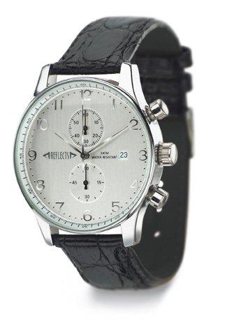 REFLECTS Armbanduhr mit Metallgehaeuse in glaenzendem Chrom in Kroko Optik CHRONO Schwarz Silber