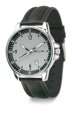 REFLECTS Armbanduhr mit Metallgehaeuse in glaenzendem Chrom CLASSIC Lederimitat