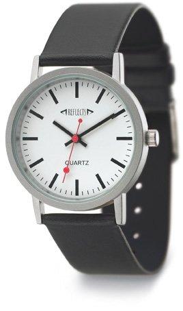 REFLECTS Armbanduhr mit Metallgehaeuse in mattem Chrom TREND Lederarmband Schwarz