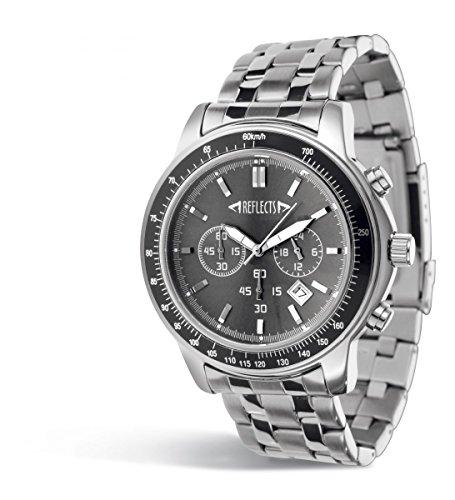 REFLECTS Armbanduhr mit Edelstahlgehaeuse sehr elegant CHRONO Silber Schwarz