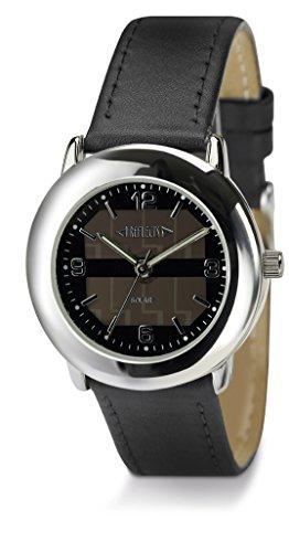 REFLECTS Armbanduhr Solararmbanduhr aus Metall in Chrome Lederarmband SOLAR Schwarz