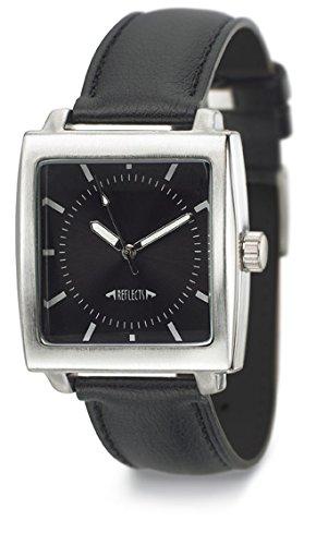 REFLECTS gepolstertes Kunstlederarmband mit Metallgehaeuse in gebuerstetem Chrom Armbanduhr CLASSIC Schwarz Silber