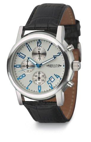 REFLECTS Armbanduhr mit Metallgehaeuse in glaenzendem Chrom CHRONO Lederarmband in Kroko Optik wasserdicht