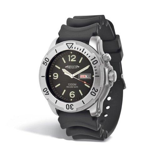 REFLECTS Taucheruhr Armbanduhr 1000m Wasserdicht mit Helium Safe Schwarz Silber