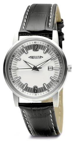 REFLECTS wasserdichte elegante Armbanduhr aus Edelstahl in Kroko Optik CLASSIC Silber