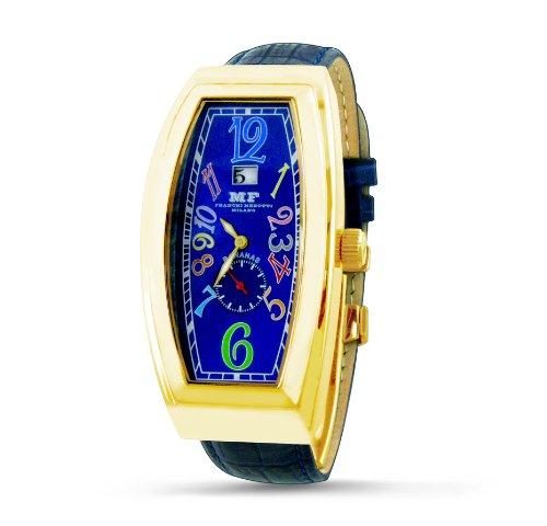 Franchi Menotti Herren Armbanduhr Armband Leder Blau Gehaeuse Goldfarbenes Edelstahl Quarz Analog 4002