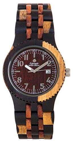 Gespannter Discovery Yukon Jumbo rund eingelegten Multicolor Holz Armbanduhr j5200idm DF