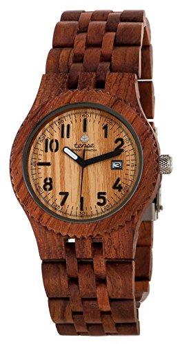 Gespannter Discovery Yukon Jumbo rund Palisander Holz Armbanduhr j5200r LF