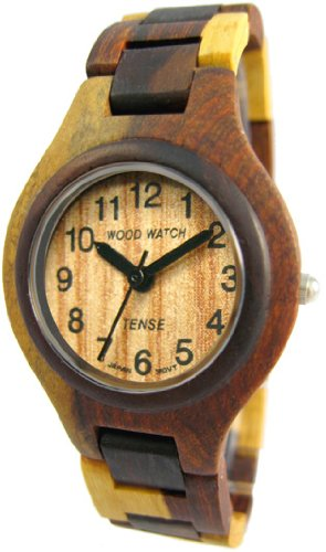 Tense Maenner Bunt Round Sandelholz Uhr G7509ID