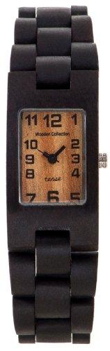 Tense Maenner Rechteckige Dunkle Sandelholz Wood Watch G8102D