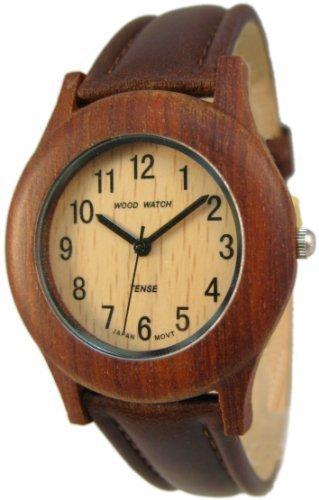 Tense Wood Watches 36mm Armband Leder Braun Gehaeuse Holz Quarz Zifferblatt Beige G8003S