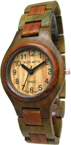 Tense Wood Watches 36mm Armband Holz Zwei Ton Gehaeuse Quarz Zifferblatt Beige G7509GS