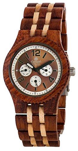 Tense Wood Watches 46mm Armband Holz Zwei Ton Gehaeuse Quarz Zifferblatt Braun J5203RM