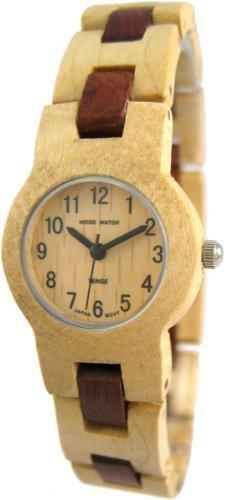 Tense Round Damen Zweifarbige Maple Sandelholz Wood Watch L7103MS