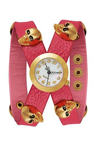 Armbanduhr Bloggeruhr Trenduhr Edelstahl Uhr Uhren Guenstig Quarzuhr Designer Farben Rosa Gold Style Candy Skull Tattoo Totenkopf Blogger Boho Hippie Hipster Trend Rosen Blume Rose Anker