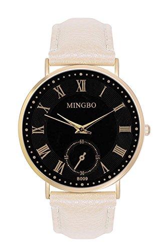 Armbanduhr Unisex Herren Trenduhr Farbe Gold Beige Style Roemische Ziffern Schlicht Chronograph Optik Lederarmband Uhren Guenstig Designer Mingbo Quarzuhr Schmuck Modeschmuck