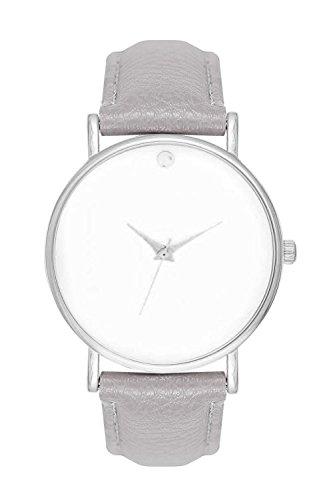 Armbanduhr Bloggeruhr Trenduhr Edelstahl Uhr Uhren Guenstig Quarzuhr Designer Farbe Weiss Grau Silber Style Schlichtes Minimal Design ohne Ziffern Unisex