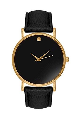 Armbanduhr Bloggeruhr Trenduhr Edelstahl Uhr Uhren Guenstig Quarzuhr Designer Farbe Schwarz Gold Style Schlichtes Minimal Design ohne Ziffern Vintage Boho Anker Mustache