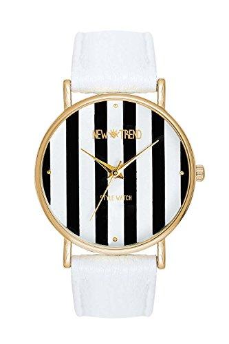 Damenmode Streifen Muster runden Zifferblatt Pu Band Quarz Analog Armbanduhr verschiedene Farben Farbe Weiss