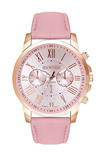 Armbanduhr in Chronograph Optik Edelstahl Uhr Uhren Guenstig Quarzuhr Designer Farbe Rosa Pink Rose Rosegold Rotgold Gold Rosengold Style Rosen Blume Rosenmuster Blumenmuster Anker