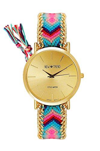 Beach Style Geflochten Armband Farbe Tuerkies Pink Gold Armbanduhr Blogger Trenduhr Uhr Damen Hippie Boho Festival Boho Anker Weltkarte Feder Freundschaftsarmband Dalas Mingbo Bijou V6