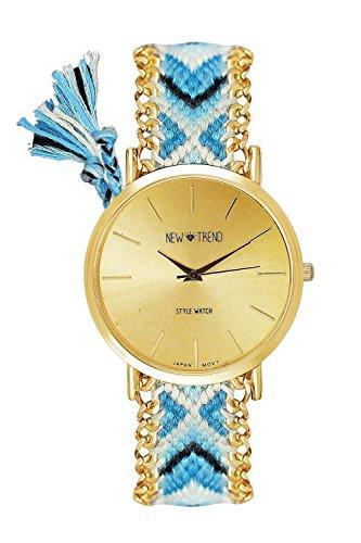 Beach Style Geflochten Armband Farbe Blau Hellblau Gold Armbanduhr Blogger Trenduhr Uhr Damen Hippie Boho Festival Boho Anker Weltkarte Feder Freundschaftsarmband Dalas Mingbo Bijou V6