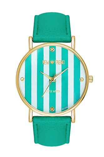 Streifen Mintfarben Streifenmuster Anker Gold Mint Armbanduhr Blogger Uhr Trend Rosen Guenstig Designer