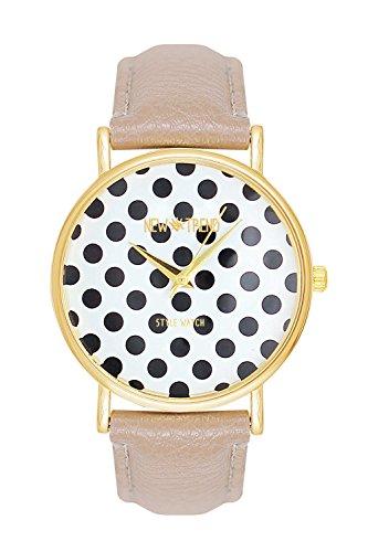 Polka Dots Petticoat Puenktchen Muster Punkte Rockabilly Fiftys RocknRoll Farbe Creme Beige Gold Uhren Guenstig Armbanduhr La Boheme Anker Weltkarte Dalas Mingbo Bijou