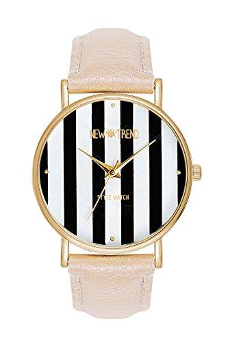 Streifen Streifenmuster Farbe Creme Beige Gold Armbanduhr Quarzuhr Designeruhr Blogger Uhr Trend Rosen Rosegold Designer Dalas Mingbo Bijou V6 La Boheme Schmuck Modeschmuck